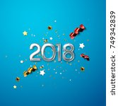 realistic 2018 silver numbers... | Shutterstock .eps vector #749342839
