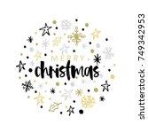 christmas greeting card ... | Shutterstock .eps vector #749342953