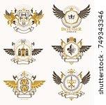 vintage decorative heraldic... | Shutterstock .eps vector #749343346