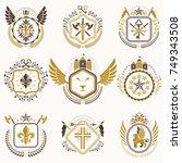 heraldic decorative emblems... | Shutterstock .eps vector #749343508