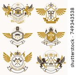 set of vector vintage emblems...   Shutterstock .eps vector #749343538