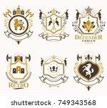 set of vector vintage emblems... | Shutterstock .eps vector #749343568