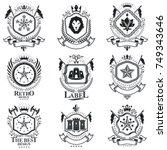 heraldic signs vector vintage...   Shutterstock .eps vector #749343646
