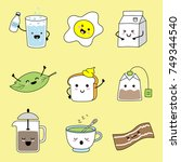 cheerful characters of food and ... | Shutterstock .eps vector #749344540