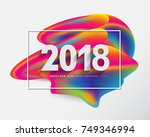 2018 merry christmas and happy... | Shutterstock . vector #749346994