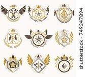 set of vector vintage emblems... | Shutterstock .eps vector #749347894