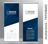 blue roll up business brochure...   Shutterstock .eps vector #749348683
