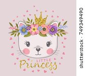 Stock vector little princess with crown cute cat with floral wreath 749349490
