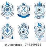 set of luxury heraldic vector... | Shutterstock .eps vector #749349598