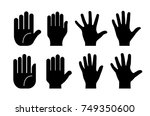 collection of human hands on... | Shutterstock .eps vector #749350600