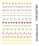 funny cute line border set.... | Shutterstock .eps vector #749350789