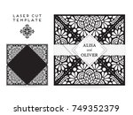 vector wedding card laser cut... | Shutterstock .eps vector #749352379