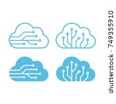 cloud technology logo or icon... | Shutterstock .eps vector #749355910