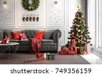 christmas living room with a... | Shutterstock . vector #749356159
