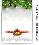 christmas greeting card with... | Shutterstock .eps vector #749357548