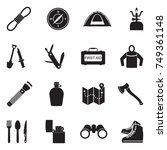 survival kit icons. black flat... | Shutterstock .eps vector #749361148