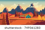 meadow with grass and camping ... | Shutterstock .eps vector #749361283