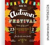autumn festival poster template.... | Shutterstock .eps vector #749362126