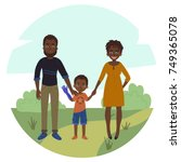 happy family with disabled girl.... | Shutterstock .eps vector #749365078