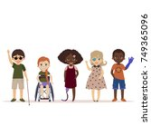 special needs children. happy... | Shutterstock .eps vector #749365096