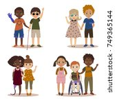 disabled children with friends. | Shutterstock .eps vector #749365144