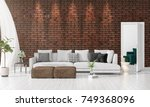 modern interior design of... | Shutterstock . vector #749368096