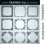 vintage decorative frames set . ... | Shutterstock .eps vector #749368393