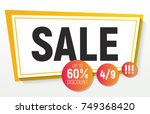 wide polygon sale banner.... | Shutterstock .eps vector #749368420