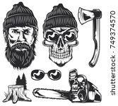 set of lumberjack elements for... | Shutterstock .eps vector #749374570