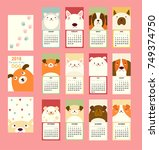 monthly calendar 2018 with cute ... | Shutterstock .eps vector #749374750