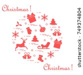 new year and christmas symbols... | Shutterstock .eps vector #749374804