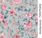 floral seamless pattern. flower ... | Shutterstock .eps vector #749375650