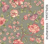 flower seamless pattern. floral ... | Shutterstock .eps vector #749375656