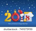 greeting card with new year and ... | Shutterstock .eps vector #749375950