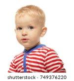 cute little baby in romper suit ...   Shutterstock . vector #749376220