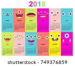 monthly calendar 2018 with cute ...   Shutterstock .eps vector #749376859