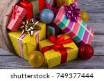 close view on gift boxes and... | Shutterstock . vector #749377444