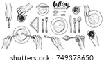 hands with cutlery  vector line ... | Shutterstock .eps vector #749378650