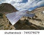 solar panels at a solar energy... | Shutterstock . vector #749379079