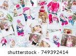 collage children winter photo....   Shutterstock . vector #749392414