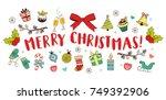 christmas hand drawn design... | Shutterstock .eps vector #749392906
