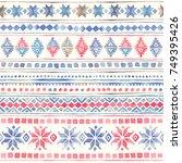 seamless watercolor ethnic...   Shutterstock . vector #749395426