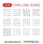 set of thin line icons... | Shutterstock .eps vector #749398243