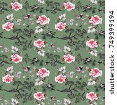 seamless floral pattern with... | Shutterstock . vector #749399194