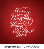 merry christmas text .happy new ... | Shutterstock .eps vector #749400049