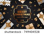 abstract modern merry christmas ... | Shutterstock .eps vector #749404528
