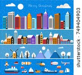 set of houses and objects... | Shutterstock .eps vector #749404903