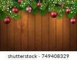 christmas wooden background... | Shutterstock .eps vector #749408329