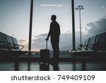 young hipster tourist traveler... | Shutterstock . vector #749409109