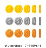flat vector coins with dollar... | Shutterstock .eps vector #749409646